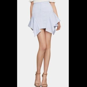 BCBGMAXAZRIA Pinstriped Ruffled Mini Skirt